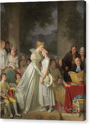 Women. Eighteenth Century Canvas Print - The Kiss Of Protection By The Local Chatelaine  by Marguerite Gerard