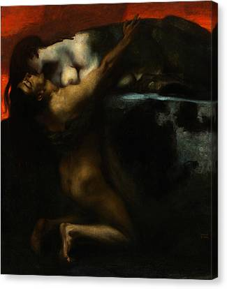 The Kiss Canvas Print - The Kiss Of The Sphinx by Franz von Stuck