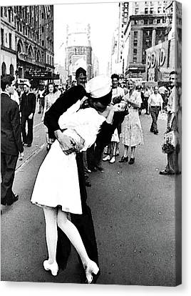 The Kiss,  V J Day Times Square Watercolor Ink Canvas Print by Thomas Pollart