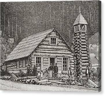 The Klondike Presbyterian Church Canvas Print by Vintage Design Pics
