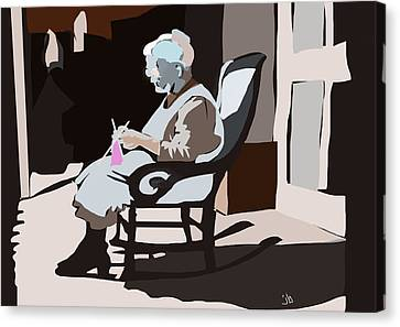 The Knitter Canvas Print