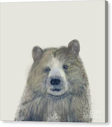 Canvas Print featuring the painting The Kodiak Bear by Bri B
