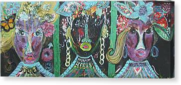 The Ladies From Cowville Canvas Print by Anne-Elizabeth Whiteway