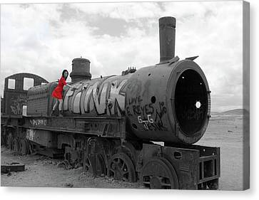 Canvas Print featuring the photograph The Lady And The Train by Aidan Moran