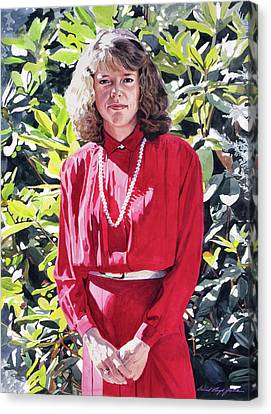 Blonde Canvas Print - The Lady In Red by David Lloyd Glover