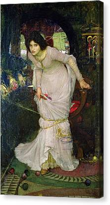 The Lady Of Shalott Canvas Print by John William Waterhouse