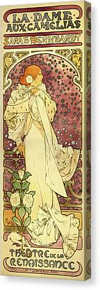 The Lady Of The Camellias Canvas Print by Alphonse Mucha