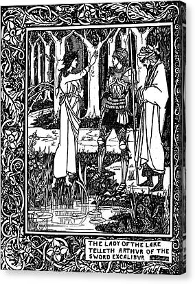 Arthurian Legend Canvas Print - The Lady Of The Lake Telleth Arthur Of The Sword Excalibur by Aubrey Beardsley