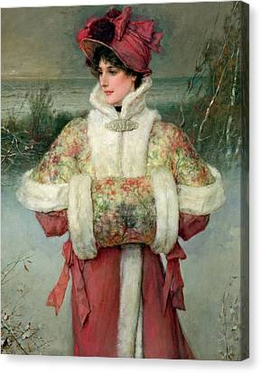 Snow-covered Landscape Canvas Print - The Lady Of The Snows by George Henry Boughton