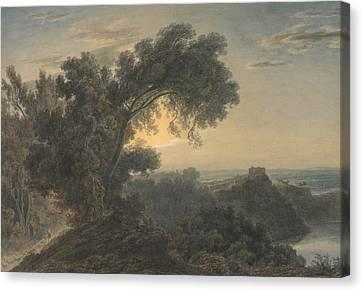 Italian Landscape Canvas Print - The Lake Of Albano And Castle Gandolfo by John Robert Cozens