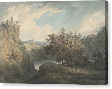 Italian Landscape Canvas Print - The Lake Of Nemi by John Robert Cozens