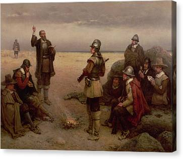 Settlers Canvas Print - The Landing Of The Pilgrim Fathers by George Henry Boughton