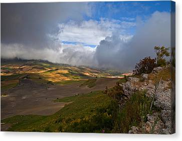The Landscape Near The Roman Ruins Canvas Print by Panoramic Images