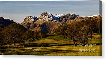 The Langdale Pikes In Winter Canvas Print by John Collier