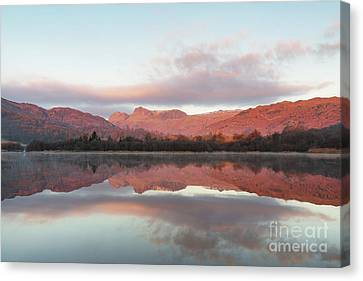 The Langdales Reflected In Elterwater Canvas Print