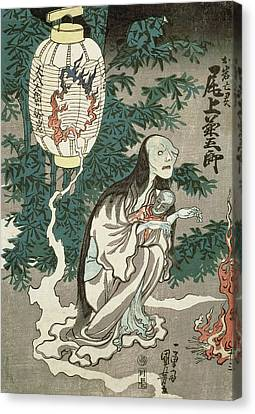 Ghost Story Canvas Print - The Lantern Of The Ghost Of Sifigured O-iwa by Japanese School