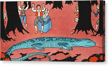 The Large Blue Lizard Canvas Print by Georges Barbier