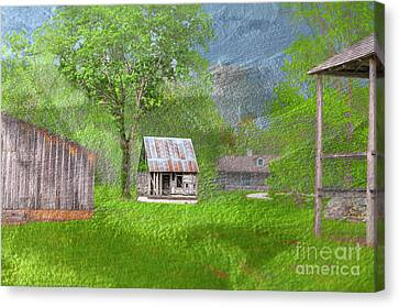 Log Cabin Art Canvas Print - The Lasource-durand House  by Larry Braun