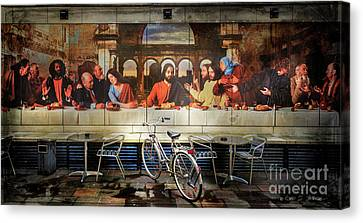 Canvas Print featuring the photograph The Last Bicycle Discussion by Craig J Satterlee