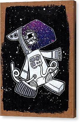 The Last Dog In Space Canvas Print by Bizarre Bunny