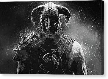 Canvas Print featuring the digital art The Last Dragonborn - Skyrim by Taylan Apukovska