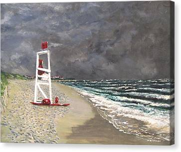 Canvas Print featuring the painting The Last Lifeguard by Jack Skinner