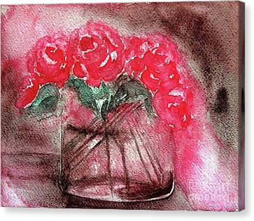 The Last Red Roses Canvas Print
