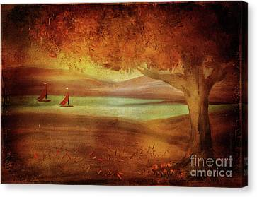 Canvas Print featuring the digital art The Last Sail Of The Season  by Lois Bryan