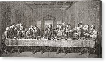 The Last Supper After Leonardo Da Canvas Print by Vintage Design Pics