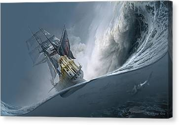 Sailboat Ocean Canvas Print - The Last Wave by George Grie