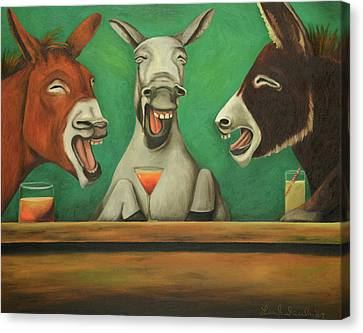 Canvas Print featuring the painting The Laughing Donkeys by Leah Saulnier The Painting Maniac