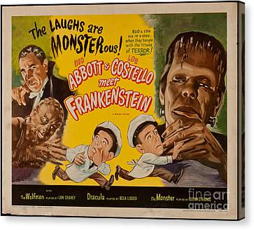 The Laughs Are Monsterous Abott An Costello Meet Frankenstein Classic Movie Poster Canvas Print