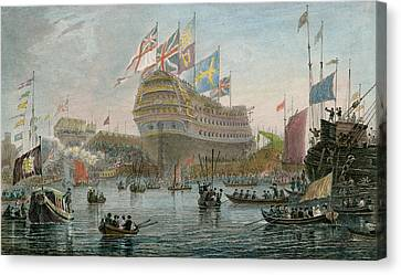 The Launch Of The Nelson Canvas Print by Luke Clennel