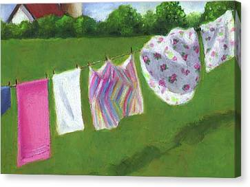The Laundry On The Line Canvas Print by Joyce Geleynse
