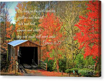 The Law Of The Harvest Elder Mill Covered Bridge Scripture Art Canvas Print