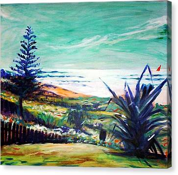 Canvas Print featuring the painting The Lawn Pandanus by Winsome Gunning