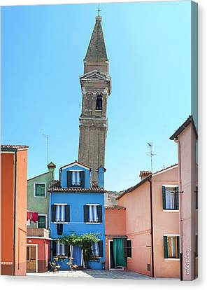 The Leaning Campanile Of Burano Canvas Print by Robert Lacy