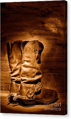 The Legendary Cowboy Boots - Sepia Canvas Print by Olivier Le Queinec
