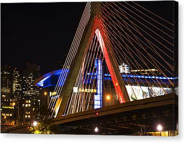 The Lenny Zakim Bridge Lit Up In Red Td Garden Canvas Print by Toby McGuire