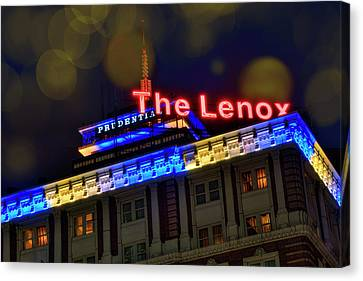 Canvas Print featuring the photograph The Lenox And The Pru - Boston Marathon Colors by Joann Vitali