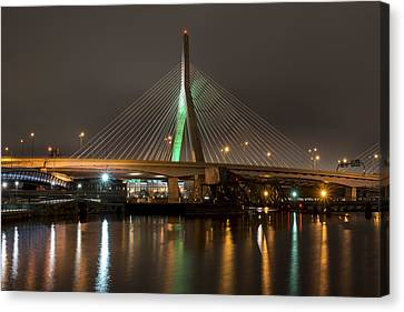The Leonard P Zakim Bridge Lit Up In Green For St Patrick's Day Reflection Canvas Print