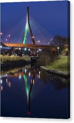 The Leonard P Zakim Bridge Lit Up In Green For St Patrick's Day Canvas Print by Toby McGuire