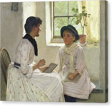 The Lesson Canvas Print by Edwin Harris