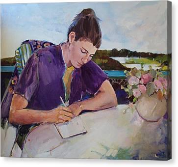 Canvas Print featuring the painting The Letter by Diane Ursin