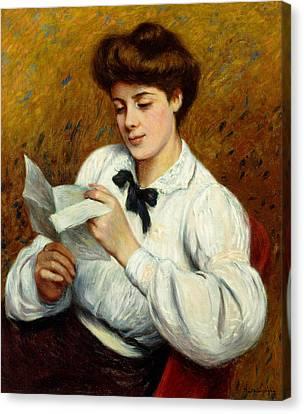 The Letter Canvas Print by Federigo Zandomeneghi