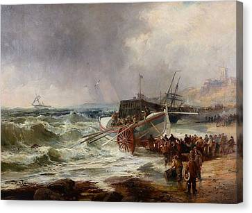 The Lifeboat Heading Out In Rough Seas Canvas Print