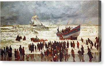 Navy Canvas Print - The Lifeboat by William Lionel Wyllie