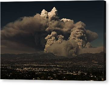 Canvas Print featuring the photograph The Light At The Top Of The Smoke Cloud by Ron Dubin