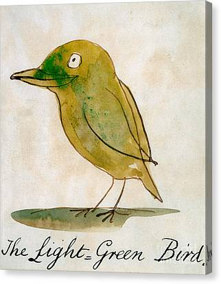 Drawing Of Lovers Canvas Print - The Light Green Bird by Edward Lear