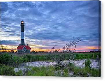 The Lighthouse At Dusk Canvas Print by Rick Berk